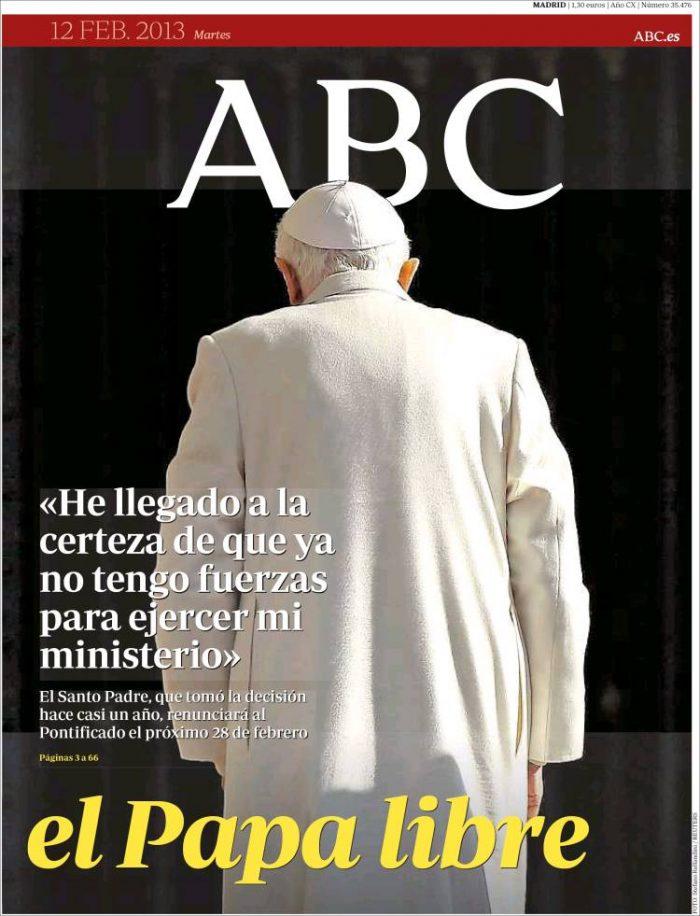 Portada del ABC con imagen del papa. Noizze Media