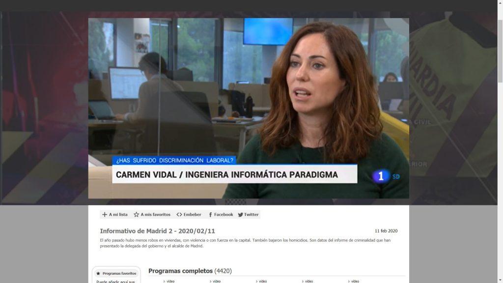 Carmen Vidal, Paradigma, es entrevistada en TVE